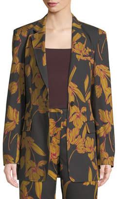 A.L.C. Vernay Floral-Print Wool/Cotton Blazer Jacket
