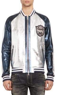 Balmain Men's Leather Bomber Jacket - Silver Blue - Size 50 (40)
