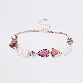River Island Pink jewel embellished choker