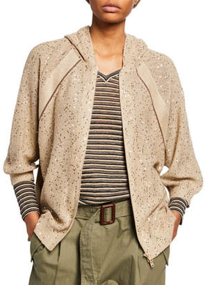 Brunello Cucinelli Monili-Beaded Linen-Silk Zip-Front Hooded Cardigan