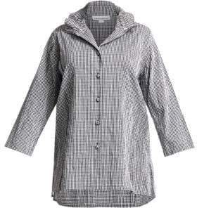 Caroline Rose Women's Crinkle Gingham Button-Down Shirt - Black White - Size 1X (14-16)