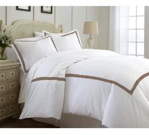 Modern Threads 600 Thread Count 3-Piece Satin Ribbon Queen Duvet Set Bedding