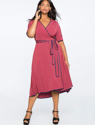 ELOQUII True Wrap Dress with Piping Detail