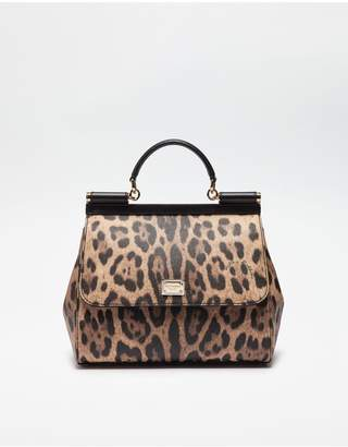 Dolce & Gabbana Regular Sicily Bag In Leopard Textured Leather