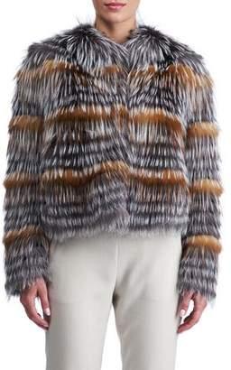 Gorski Fox Fur Cropped Layered Jacket