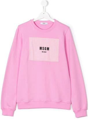 MSGM logo check patch sweatshirt