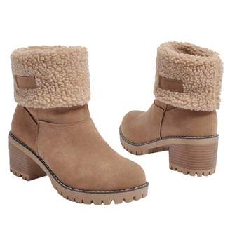 f452920ce62 Inornever Women s Winter Short Boots Round Toe Suede Chunky Low Heel Faux  Fur Warm Ankle Snow
