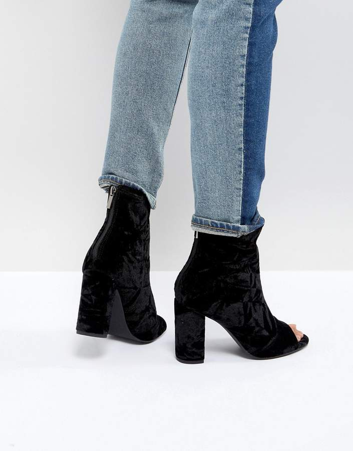 New Look Velvet Peep Toe Block Heel Shoe Boot