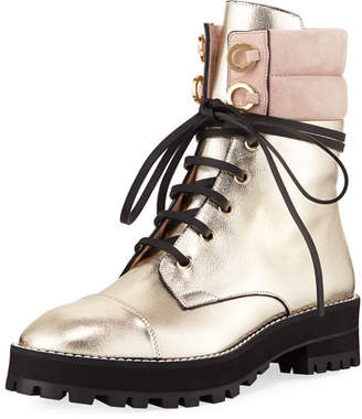 Stuart Weitzman Lexy Metallic Leather Combat Boot