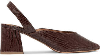 BY FAR - Lisa Lizard-effect Leather Slingback Pumps - Brown