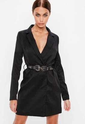 Missguided Black Western Belted Blazer Dress