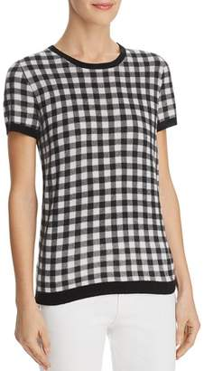 Bloomingdale's C by Gingham-Front Cashmere Sweater - 100% Exclusive
