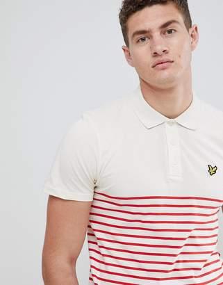 Lyle & Scott breton stripe polo shirt in white/red