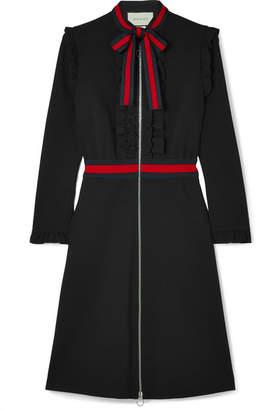 Gucci Ruffled Grosgrain-trimmed Stretch-cady Dress - Black bd2ba2b61