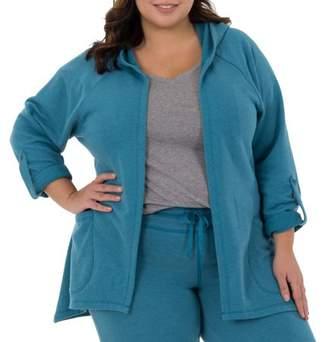 Fruit of the Loom Women's Plus-Size Active Hoodie Cardigan