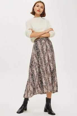 Topshop Petite Snake Print Pleat Midi Skirt