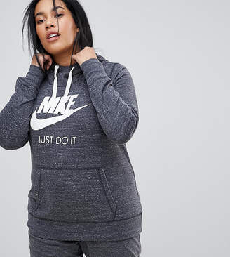 Nike Plus Gym Vintage Pullover Hoodie In Grey