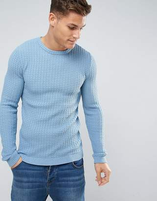 Asos DESIGN Textured Crew Neck Sweater in Blue