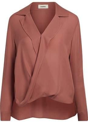 L'Agence Wrap-Effect Silk Crepe De Chine Shirt