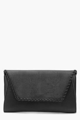 boohoo Faux Snake & Whipstitch Clutch With Chain