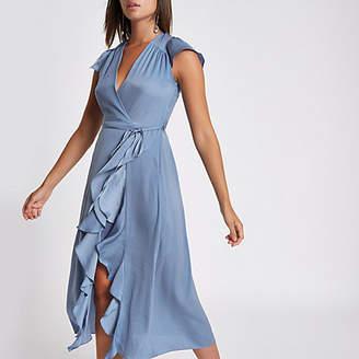 River Island Blue frill wrap front midi dress