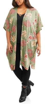 Light & Sound Women's Plus Printed Maxi Fashion Kimono