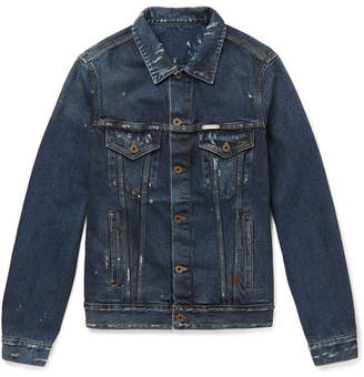 Off-White Off White Slim-Fit Distressed Denim Jacket - Men - Dark denim