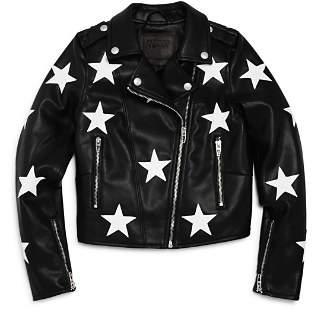 Blank NYC BLANKNYC Girls' Vegan-Leather Star-Patch Moto Jacket - Big Kid