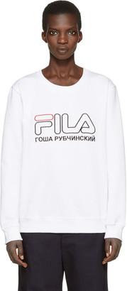 Gosha Rubchinskiy White Fila Edition Pullover $130 thestylecure.com