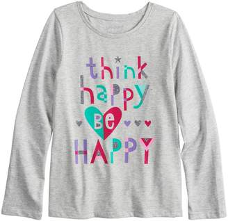 "Girls 4-10 Jumping Beans ""Think Happy, Be Happy"" Long Sleeve Glitter Graphic Tee"