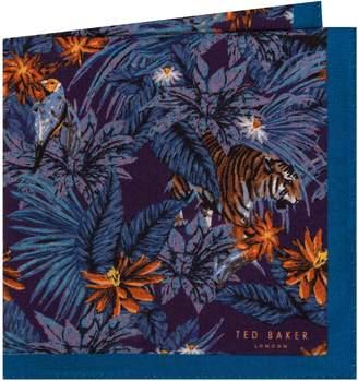 Ted Baker Jungle Print Wool Pocket Square