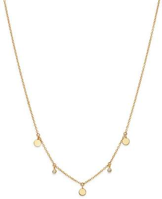 Chicco Zoë 14K Yellow Gold Itty Bitty Diamond Dangling Round Discs Necklace, 16""