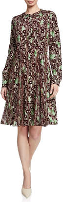 Valentino Sequined Floral Button-Down A-Line Dress