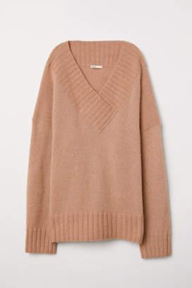 H&M Knit Mohair-blend Sweater - Orange
