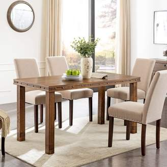 Southern Enterprises Righon Rustic Industrial Dining Table, Modern Farmhouse, Brown