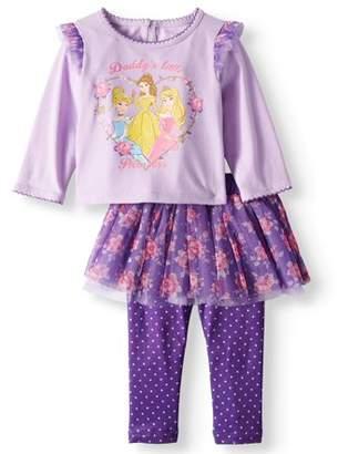 Disney Princess Ruffle Sleeve Long Sleeve Top & Skeggings, 2-Piece Outfit Set (Baby Girls)