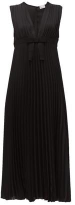 RED Valentino V Neck Pleated Chiffon Midi Dress - Womens - Black