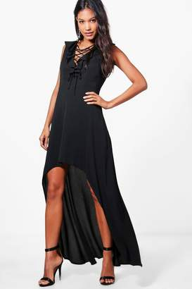 boohoo Lucy Lace Up Ruffle High Low Maxi Dress