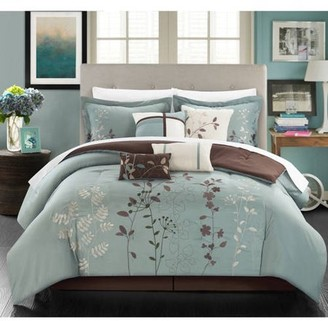 12-Piece Luxury Comforter Set in Sage Floral, King