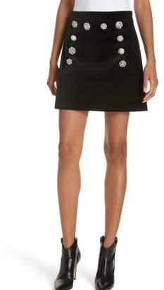 Veronica Beard Ording Crystal Button Velvet Miniskirt