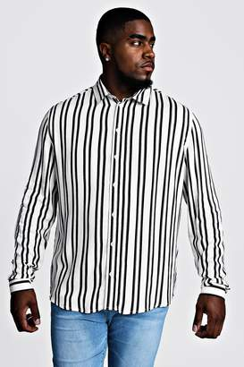 boohoo Big & Tall Stripe Print Shirt