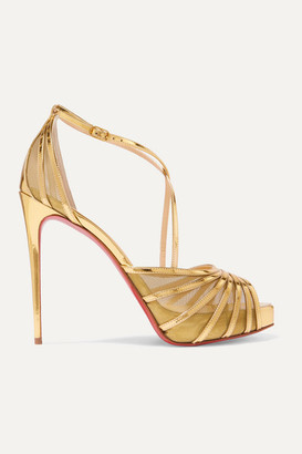 Christian Louboutin Filamenta 120 Metallic Leather And Mesh Sandals - Gold