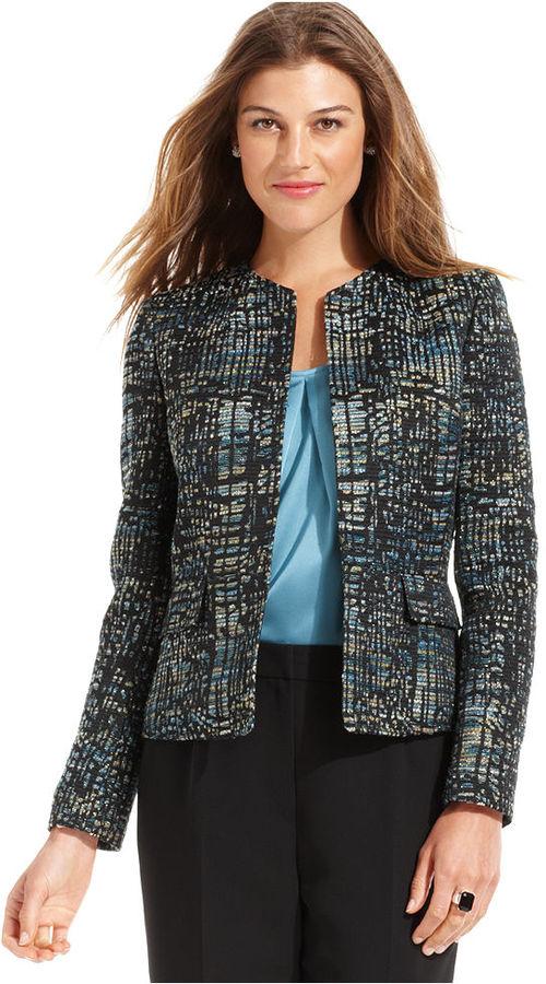 Kasper Jacket, Collarless Metallic Tweed
