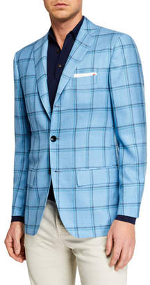 Kiton Men's Double Windowpane Sportcoat