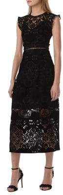 ML Monique Lhuillier Floral Lace Velvet Shift Dress