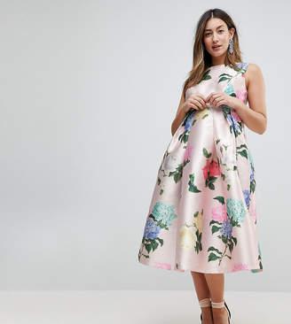 Chi Chi London Maternity Printed Satin Midi Dress
