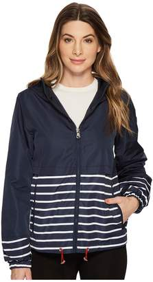 Vince Camuto Hooded Short Parka with Contrast Stripes Women's Coat