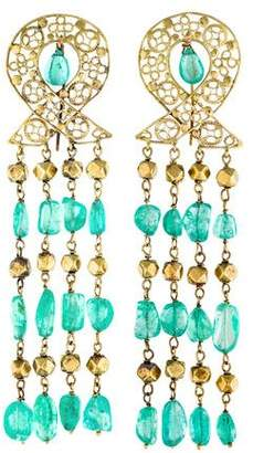 18K Emerald Chandelier Earrings