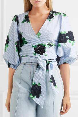 Ganni Pine Embellished Printed Cotton-poplin Wrap Top - Blue