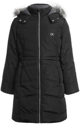 Calvin Klein Girl's Aerial Faux Fur-Trim Jacket